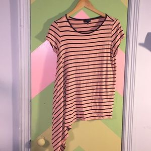 Limited asymmetrical striped shirt